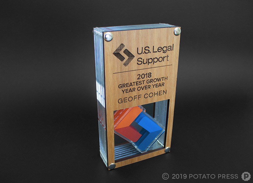 us legal support timber acrylic trophies award employee